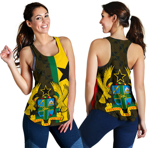 Ghana Coat Of Arm Kente Women's Racerback Tank