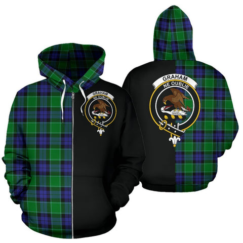 (Custom your text) Graham of Menteith Modern Tartan Hoodie Half Of Me TH8