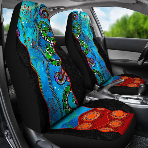 Image of Australia Aboriginal Car Seat Covers - Aussie Indigenous Patterns Blue