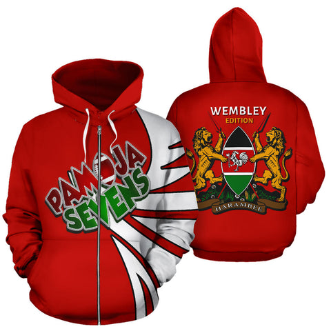 Kenya Pamoja Sevens Zip Up Hoodie - Warrior Style J9