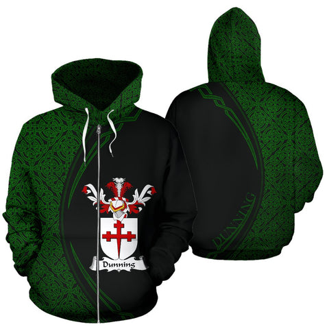 Image of Dunning Family Crest Zip Hoodie Irish Circle Style Hj4