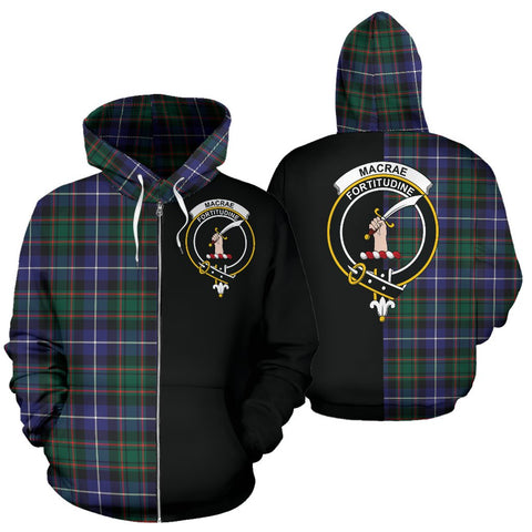MacRae Hunting Modern Tartan Hoodie Half Of Me TH8