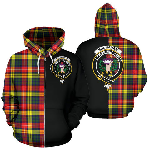 (Custom your text) Buchanan Modern Tartan Hoodie Half Of Me TH8