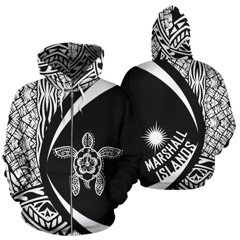 Marshall Islands Turtle Polynesian Zip Up Hoodie - Circle Style 06 J9
