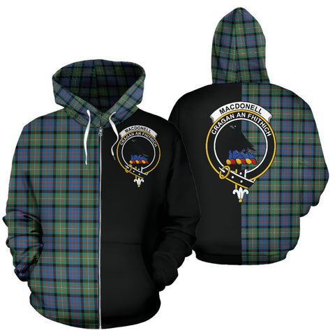 (Custom your text) MacDonnell of Glengarry Ancient Tartan Hoodie Half Of Me TH8
