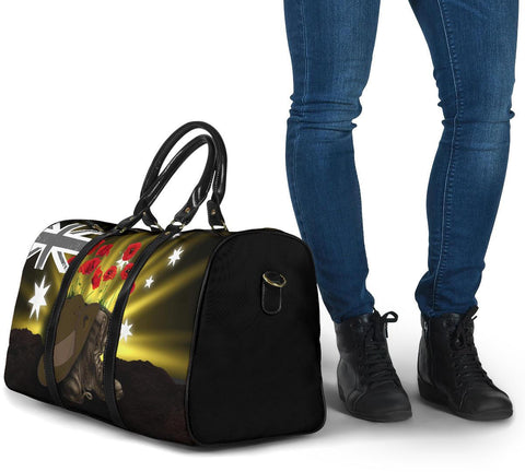 1stTheWorld Australia Anzac Day Travel Bag - Lest We Forget Hat And Boots Poppies