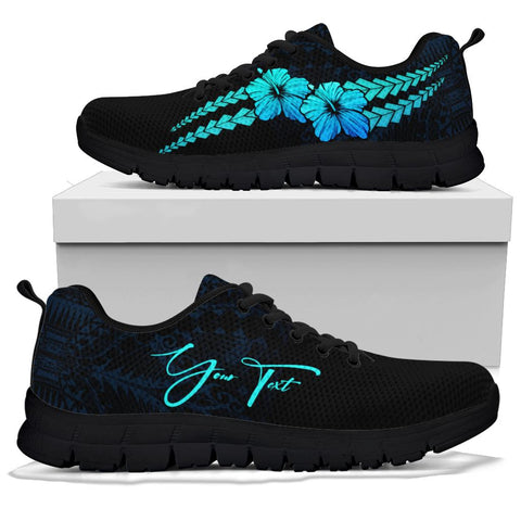 Image of (Custom) Polynesian Sneakers Hibiscus Personal Signature Blue
