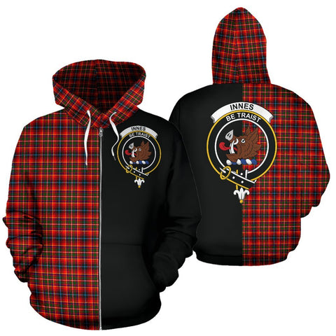 (Custom your text) Innes Modern Tartan Hoodie Half Of Me TH8