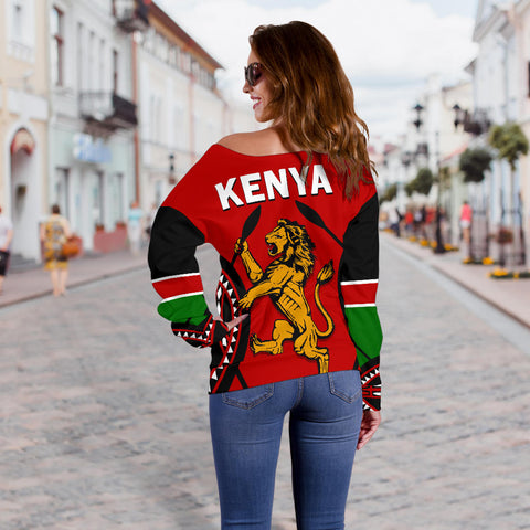 Image of Kenya Lion Off Shoulder Sweater Maasai Shield back | Clothing | Love Kenya