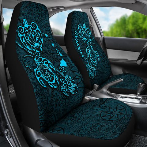 Hawaii Family Turtles Map Polynesian Car Seat Covers - Blue 2