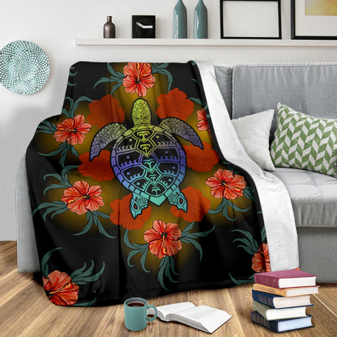 Image of Hawaiian Red Hibiscus And Big Turtle Premium Blanket |Home Set | 1sttheworld