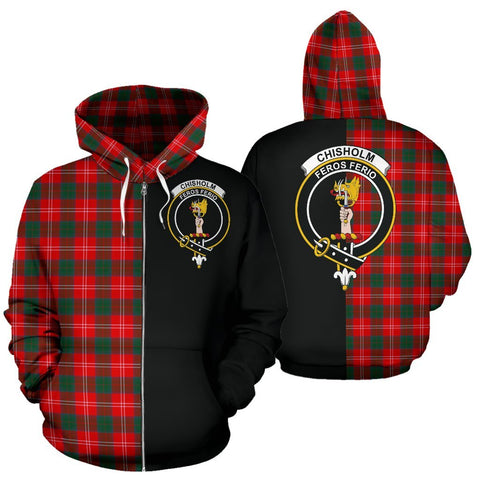 (Custom your text) Chisholm Modern Tartan Hoodie Half Of Me TH8
