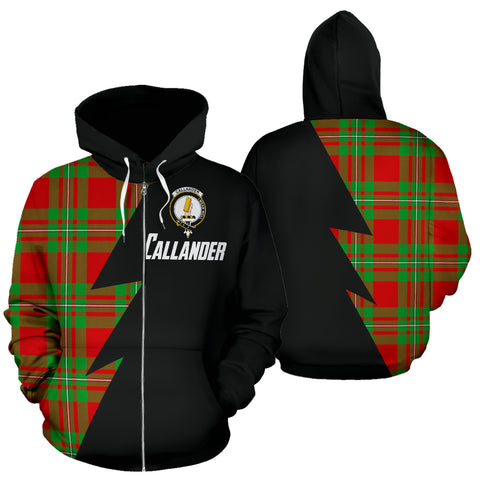 Tartan All Over Zip-Up Hoodie - Callander Clans Badge - BN