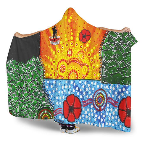 Image of Aboriginal Australian Anzac Day Hooded Blanket - Lest We Forget Poppy 3