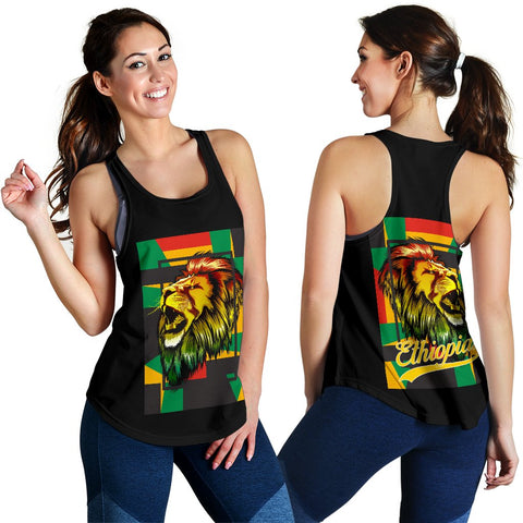 Image of 1stTheWorld Ethiopia Racerback Tank, Ethiopia Lion Abstrato Women Black A10