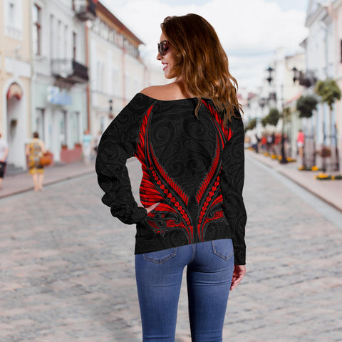 Image of New Zealand - Maori Fern Tattoo Off Shoulder Sweater A7