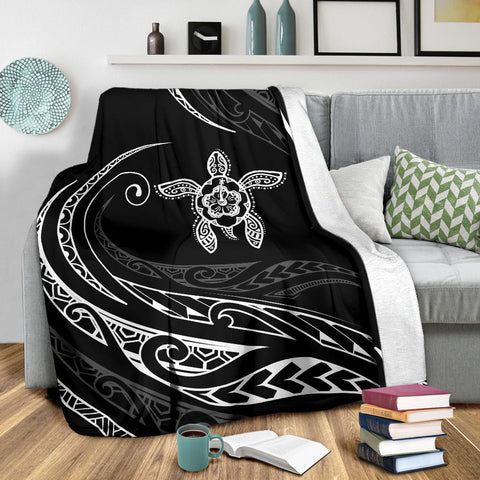 Hawaii Turtle Hibicus Premium Blanket - Frida Style - White - AH - J96