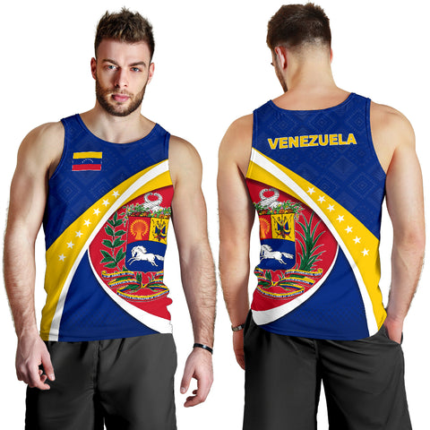 Image of 1stTheWorld Venezuela Tank Top, Venezuela Coat Of Arms Pattern Men A10