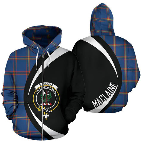 MacLaine of Loch Buie Hunting Ancient Tartan Circle Zip Hoodie HJ4
