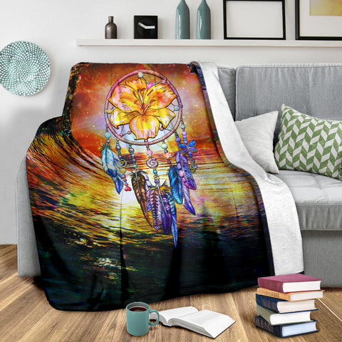Image of Hibiscus Dreamcatcher Premium Blanket - J4