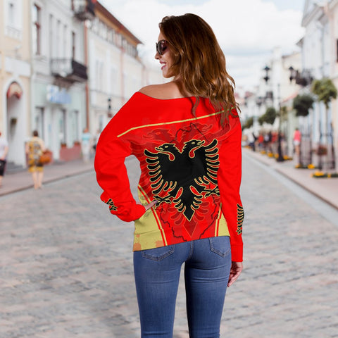 Albania Women Off Shoulder Sweater Circle Stripes Flag Version K13