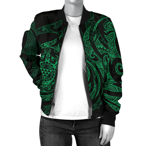 Image of Polynesian Hawaii Women's Bomber Jacket - Green Turtle Tribal - BN12