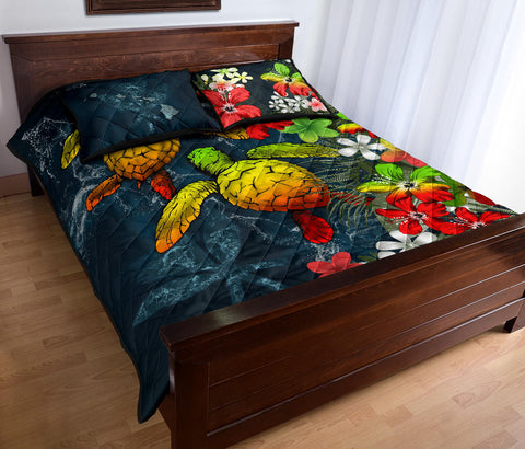 Kanaka Maoli (Hawaiian) Quilt Bed set - Sea Turtle Tropical Hibiscus And Plumeria Reggae A24