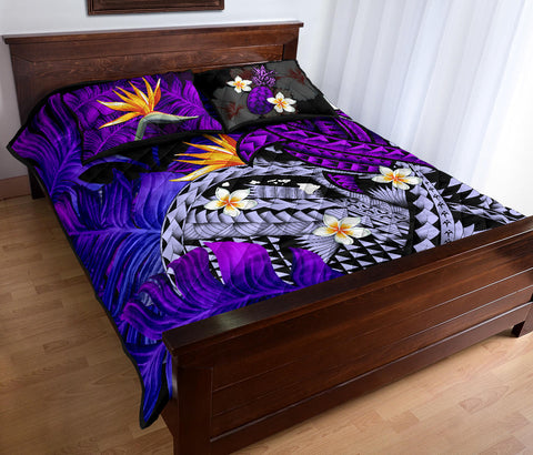 Image of Kanaka Maoli (Hawaiian) Quilt Bed Set, Polynesian Pineapple Banana Leaves Turtle Tattoo Purple A02
