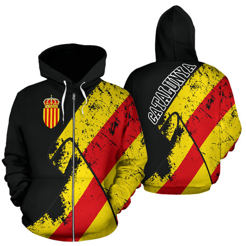 Catalonia Hoodie Zip-Up Grunge Flag Special | Love The World