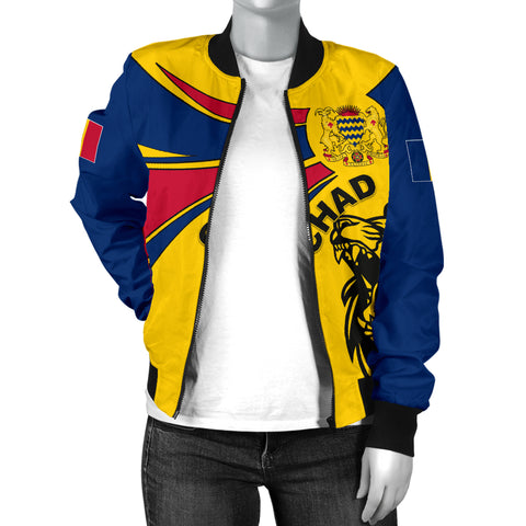 1stTheWorld Chad Bomber Jacket, Chad Round Coat Of Arms Lion Women A10