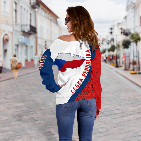 (Česká republika) Czech Republic Map Generation II Off Shoulder Sweater K6 - Red and White - Back - for Women