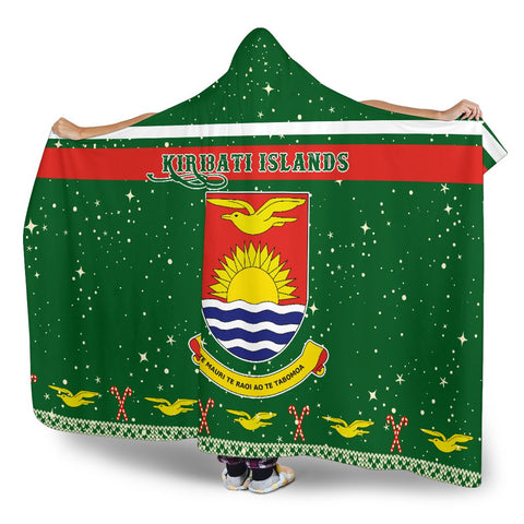 Kiribati Coat Of Arms Hooded Blanket - Green - Christmas Style