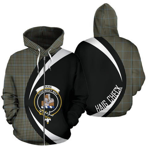 Image of Haig Check Tartan Circle Zip Hoodie HJ4