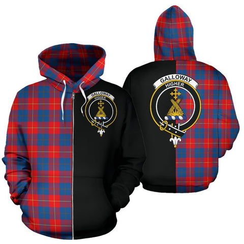 Image of (Custom your text) Galloway Red Tartan Hoodie Half Of Me TH8