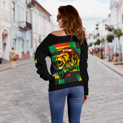 1stTheWorld Ethiopia Off Shoulder Sweater, Ethiopia Lion Abstrato Black A10