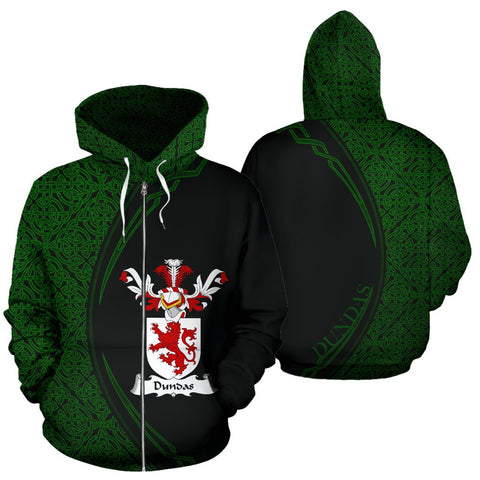 Image of Dundas Family Crest Zip Hoodie Irish Circle Style Hj4