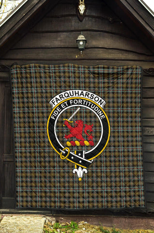 Farquharson Weathered Tartan Clan Badge Premium Quilt | 1sttheworld.com