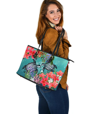 Kanaka Maoli (Hawaiian) Large Tote - Polynesian Turtle Hibiscus And Seaweed | Love The World