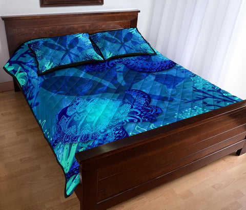 Image of Polynesian Hawaii Turtle Quilt Bed Set - Kanaka Maoli Flag - BN12