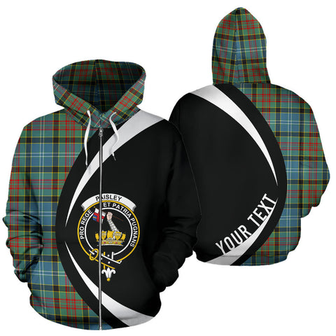 (Custom your text) Paisley District Tartan Circle Zip Hoodie HJ4