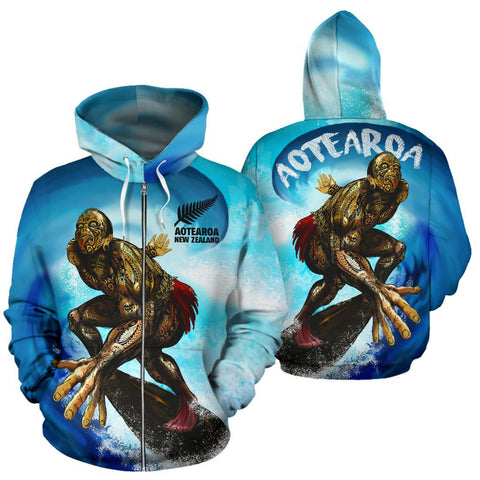Image of New Zealand Zipper Hoodie Aotearoa Surf A7