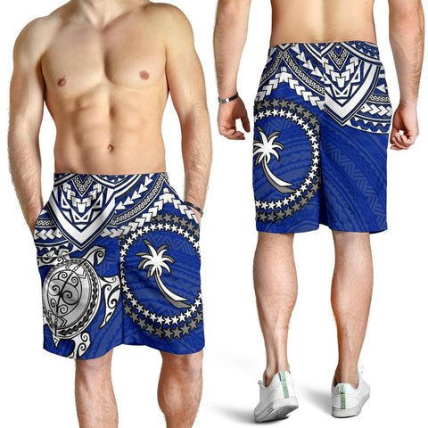 Chuuk Polynesian Short (Men) - White Turtle (Blue) - BN1518