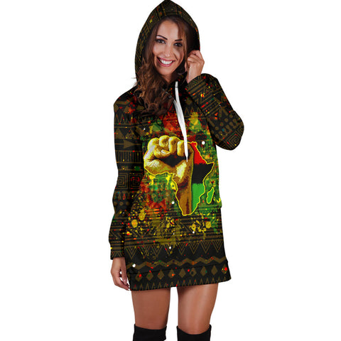 African Black Power Women's Hoodie Dress - BN39