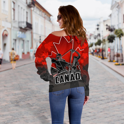 Canada Women's Off Shoulder Sweater Archery With Maple Leaf TH4