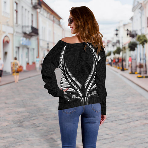 New Zealand - Maori Fern Tattoo Off Shoulder Sweater A7