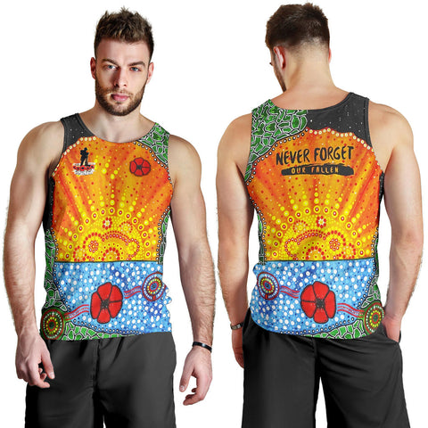 Aboriginal Australian Anzac Day Men Tank Top - Lest We Forget Poppy 3