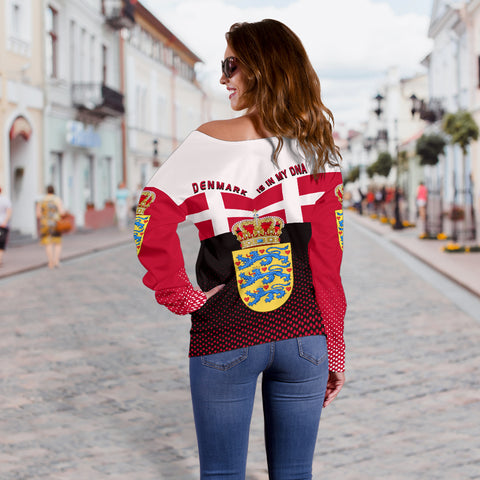 Denmark Off Shoulder Sweater - Denmark Victory - Red Mix - Back - For Women