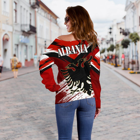 Albania Women's Off Shoulder Sweater - New Release A25
