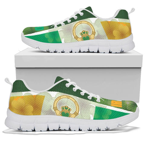Celtic Ireland Sneakers - Ireland Flag With Claddagh Ring and Shamrock - BN21
