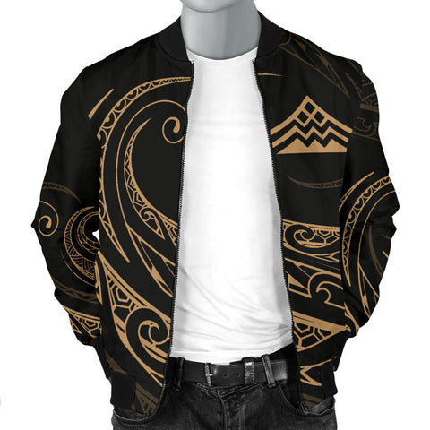 Image of Mauna Kea Polynesian Men's Bomber Jacket - Gold - Frida Style - AH J9